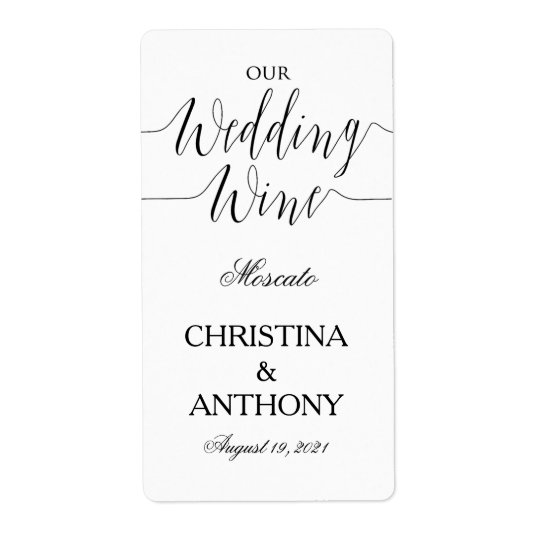 Personalized Black and White Wedding Wine Label Shipping Label