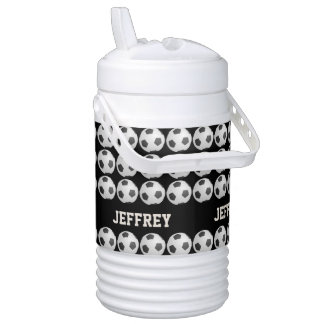 Personalized Black Beverage Cooler, Soccer Drinks Cooler