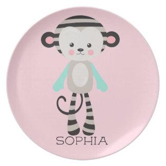 Personalized Black Blue Pink Striped Sock Monkey Plate