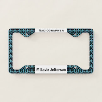 Personalized Black & Blue Skeleton Radiographer License Plate Frame