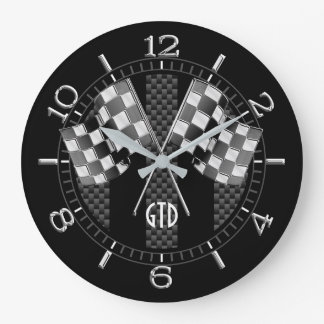 Personalized Black Carbon Style Racing Stripes Large Clock