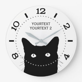 Personalized Black Cat Dial on a Wallclock