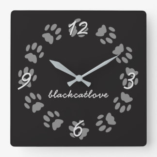 Personalized Black Cat Paw Prints Wall Clock