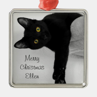 Personalized Black Cat Relaxing on Couch Metal Ornament