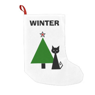 Personalized Black Cat Small Christmas Stocking