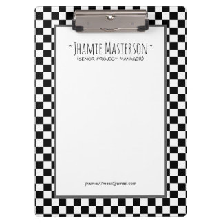 Personalized Black Chequered Clipboard