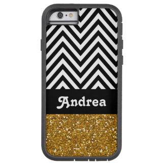 Personalized Black Chevron Gold Glitter Printed Tough Xtreme iPhone 6 Case