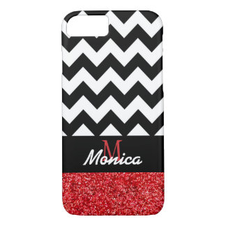 Personalized Black Chevron Red Glitter iPhone 7 Case