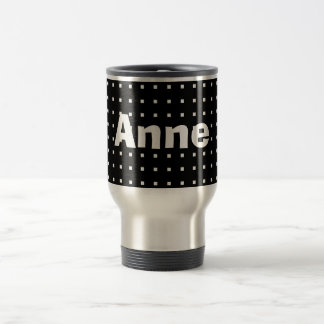 Personalized Black Cool Square Pattern Modern Chic Travel Mug