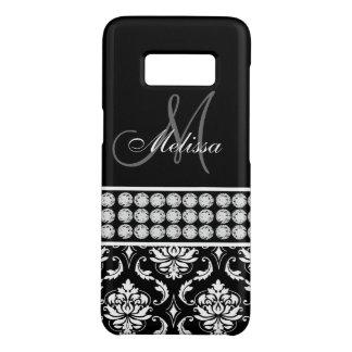 Personalized Black Damask Girly Diamonds Monogram Case-Mate Samsung Galaxy S8 Case