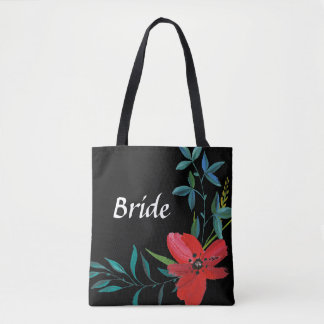 Personalized Black Floral Bride Tote Bag