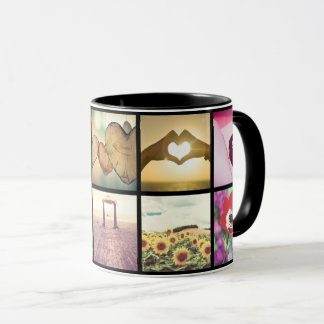 Personalized black framed pictures mug