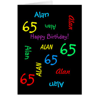 Personalized Black Fun Card, 65th Birthday Adult Card