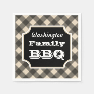 Personalized Black Gingham Napkins Disposable Napkin
