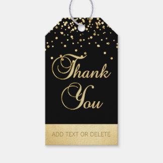 Personalized Black Gold Confetti THANK YOU favour Gift Tags