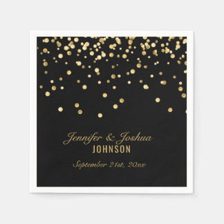 Personalized BLACK Gold Confetti Wedding | PARTY Paper Napkin