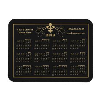 Personalized Black Gold Fleur de Lis 2014 Calendar Rectangular Photo Magnet