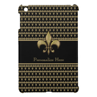 Personalized Black Gold Fleur de Lis iPad Mini Cases