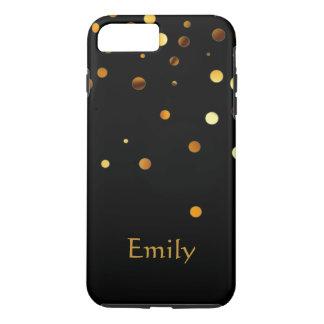 Personalized Black Gold Glitter Faux Confetti iPhone 7 Plus Case