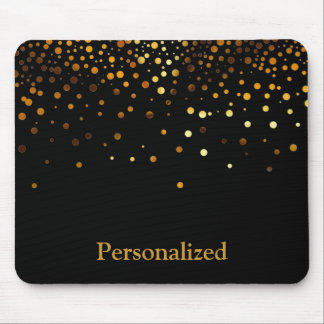 Personalized Black Gold Glitter Faux Foil Mouse Pad