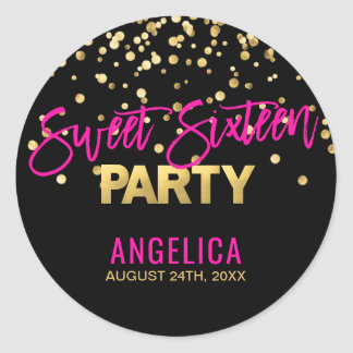 Personalized Black Gold Hot Pink Sweet SIXTEEN 16 Classic Round Sticker