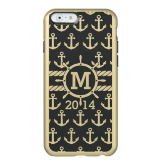 Personalized Black Gold Nautical Anchors Pattern Incipio Feather® Shine iPhone 6 Case