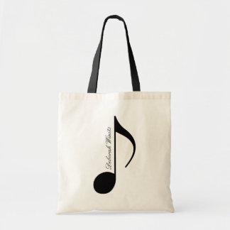 personalized black graphic musical note tote bag