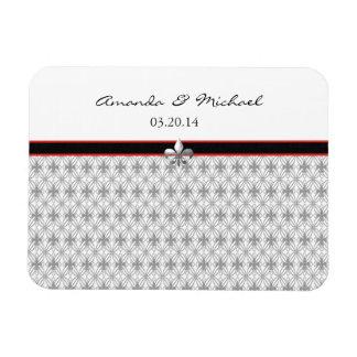 Personalized Black Gray Red Fleur de Lis Pattern Rectangular Photo Magnet