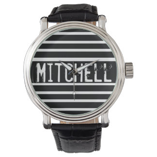 Personalized Black H Striped MPF Watch