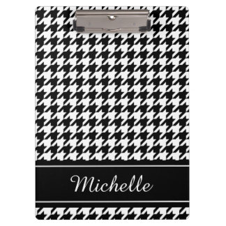 Personalized black houndstooth print clipboard