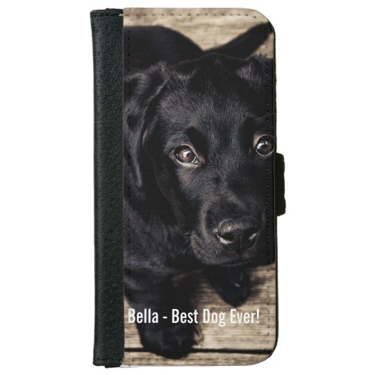 Personalized Black Lab Dog Photo and Dog Name iPhone 6 Wallet Case