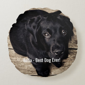 Personalized Black Lab Dog Photo and Dog Name Round Pillow