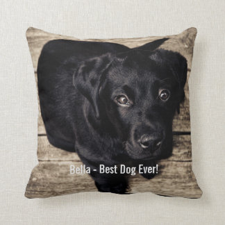 Personalized Black Lab Dog Photo and Dog Name Throw Pillow