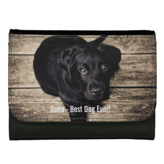 Personalized Black Lab Dog Photo and Dog Name Wallets For Women