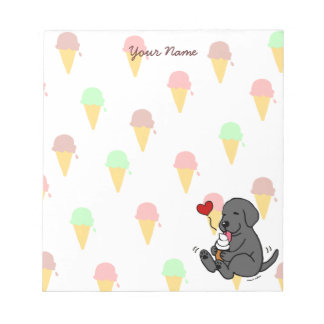 Personalized Black Lab Licking Ice Cream Notepad