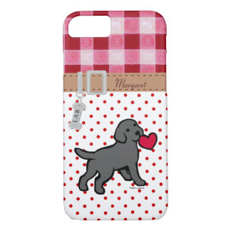 Personalized Black Lab Puppy and Red Heart iPhone 8/7 Case