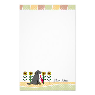 Personalized Black Labrador with Sunflowers Personalized Stationery
