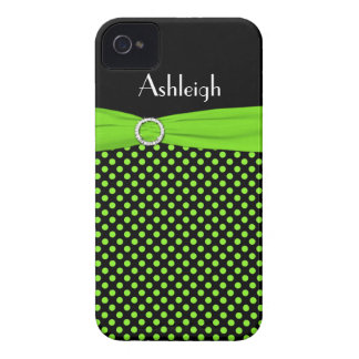 Personalized Black, Lime Polka Dot iPhone 4 Case