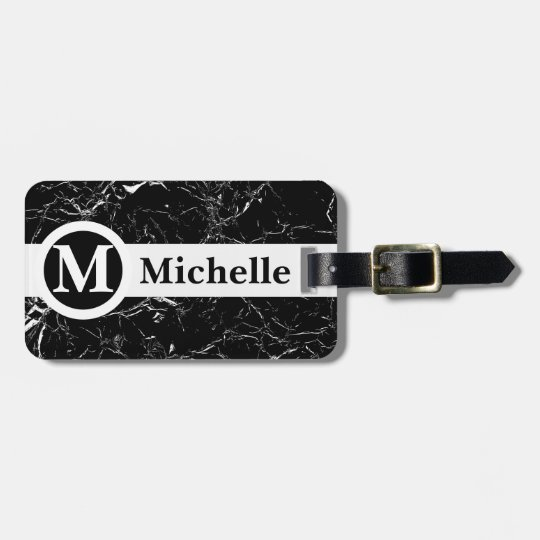 Personalized Black Marble Centerline Bag Tag