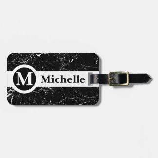 Personalized Black Marble Centerline Luggage Tag