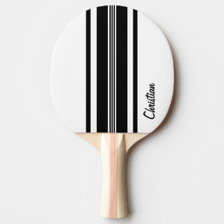 Personalized Black Modern Racing Stripes Ping Pong Paddle