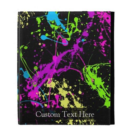 Personalized Black/Neon Splatter iPad Case
