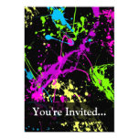 "Personalized Black/Neon Splatter 5"" X 7"" Invitation Card"