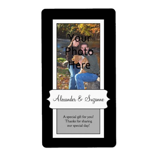 Personalized Black Photo Wedding or Favour Labels