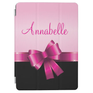 Personalized Black PINK GRADIENT Stripes PINK BOW iPad Air Cover