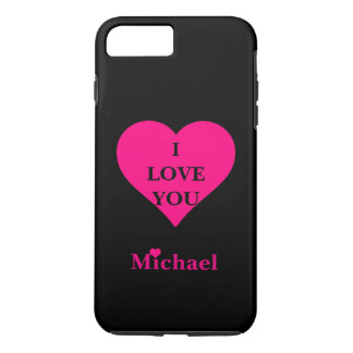Personalized Black & Pink Heart I Love You iPhone 7 Plus Case
