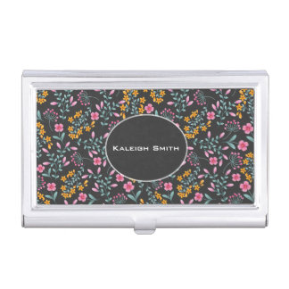 Personalized Black / Pink Yellow Floral Business Card Holder
