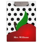 Personalized Black Polka Dot Red Apple Teacher Clipboard