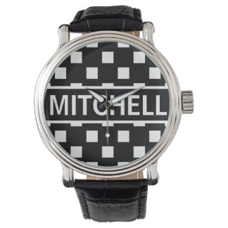 Personalized Black Polka Square BCF Watch