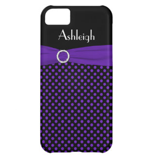 Personalized Black, Purple Polka Dot iPhone 5 Case